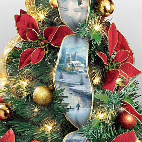Thomas Kinkade 2 Ft Pre Lit Pull Up Instant Christmas Tree Detail Thomas Kinkade Christmas Christmas Wreaths Christmas