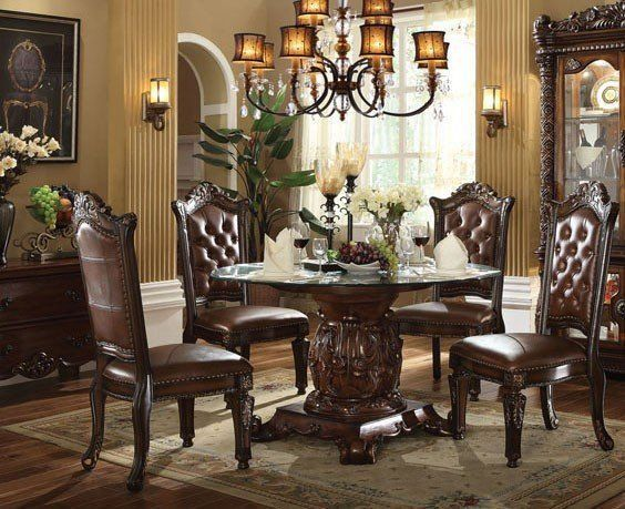 Formal Traditional Vendome Cherry 5 Pc Round Dining Room Set Glass