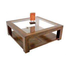 Table Basse Carree Bois Massif Et Verre L110 Cm Hand Craft