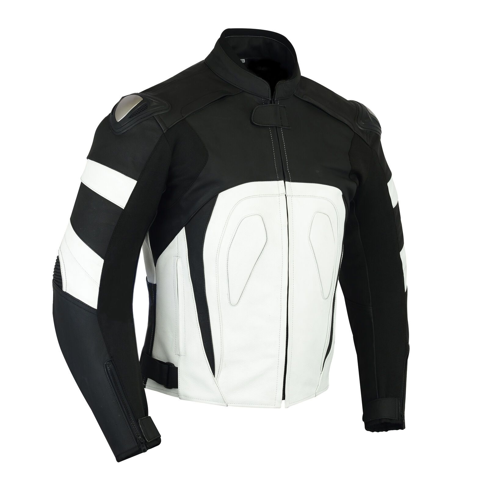 Two Tone Black White Contrast Genuine Cowhide Leather