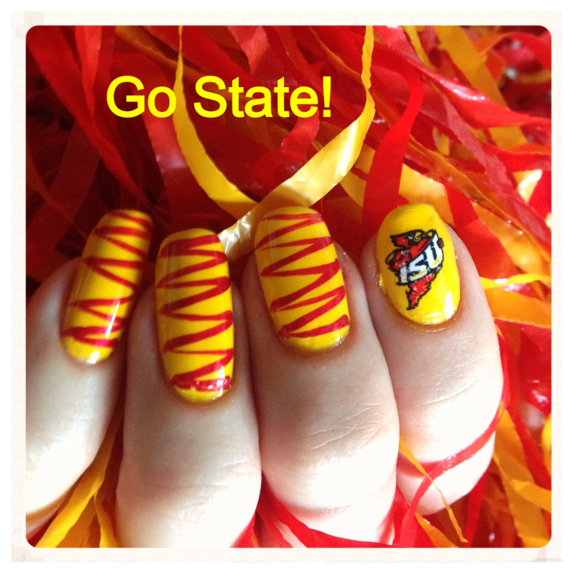 Day 19: Cardinal and Gold Iowa State Cyclone nails. Red and gold ...