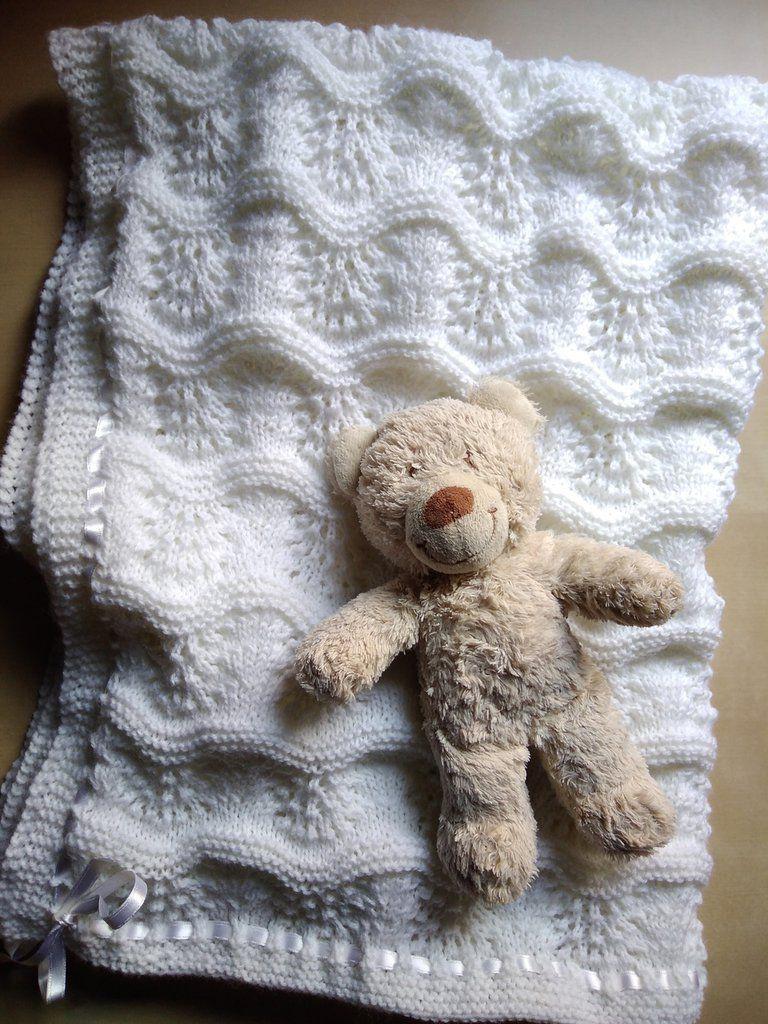 Amato Copertina lettino bianca ai ferri in lana neonato elegante SN62