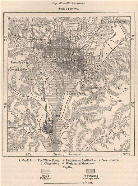 WASHINGTON DCMAPS Washington Antique woodengraved map Scale 1