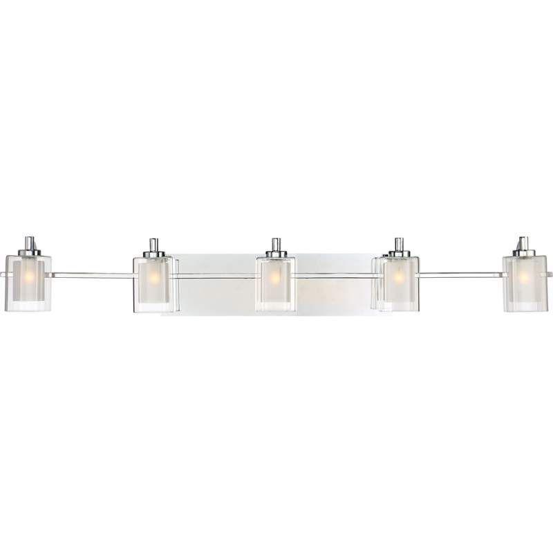 "Bathroom Vanity Lights Clear Glass quoizel klt8605led kolt 5 light 42"" wide bathroom vanity lights"