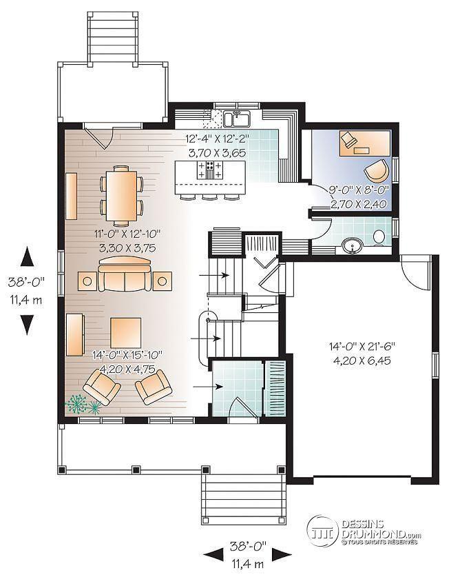 Plan de Rez-de-chaussée Salon ouvert sur la cuisine, 3 chambres - cuisine ouverte sur salon m