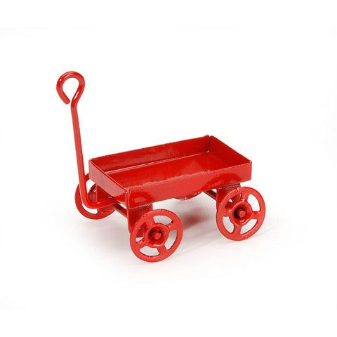 Miniature Red Metal Wagon by myminiatureworld20 on Etsy