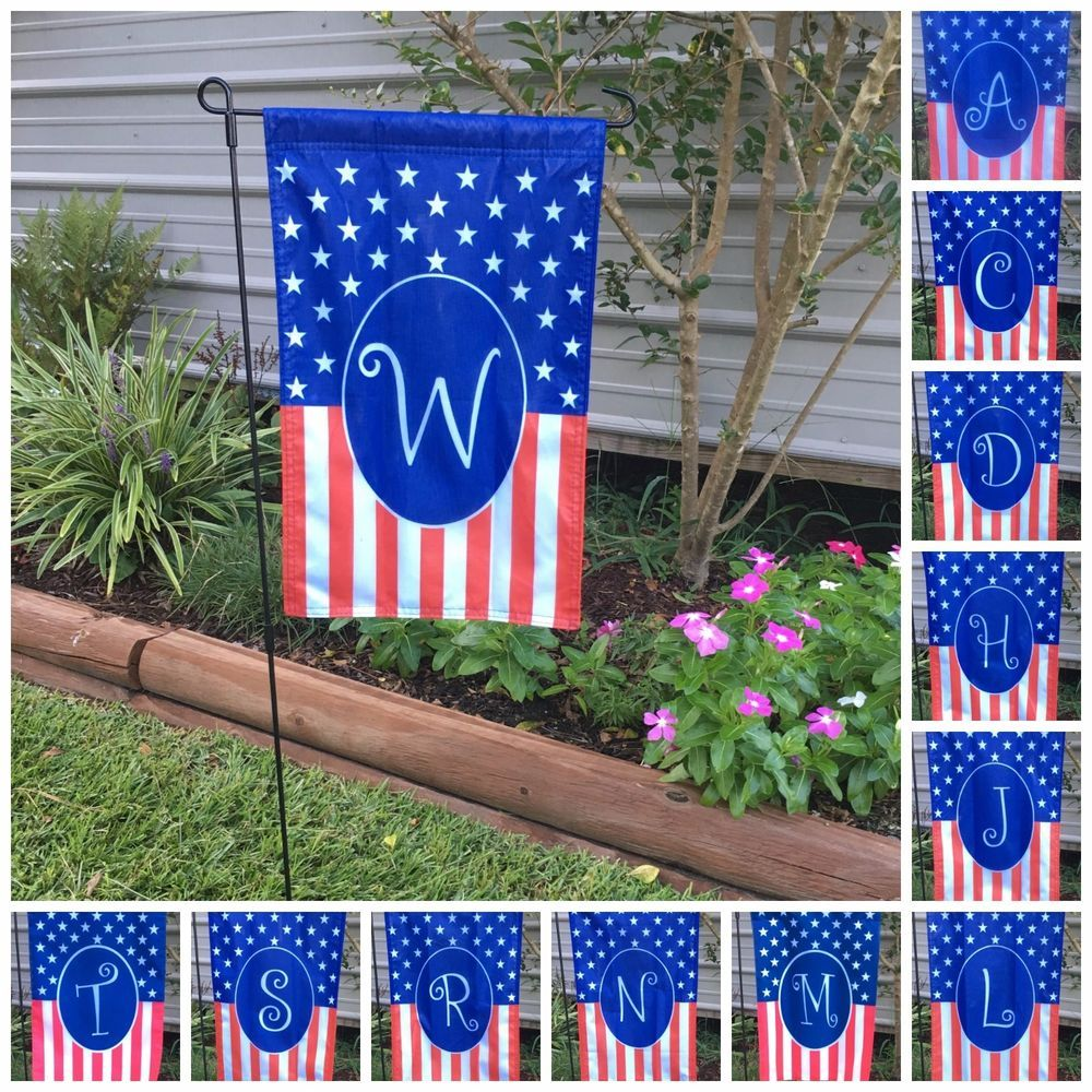 Monogrammed Holiday Small Garden Flag 4th July Usa America Gift Home 12x19 Savvyflags Gardenflag 4thofjuly Am Small Garden Flags Small Garden Garden Flags