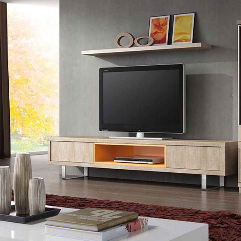 Ensemble meuble TV coloris beige et orange moderne MAKITA Ensemble