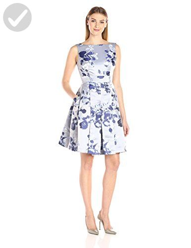 1cd94965be478 Eliza J Women's Floral Fit and Flare Dress with Side Pockets, Silver ...