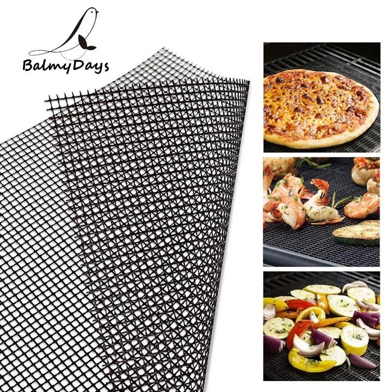 BBQ Grill Mesh Non-Stick Mat Reusable Sheet Resistant Cooking Baking Barbecue A6