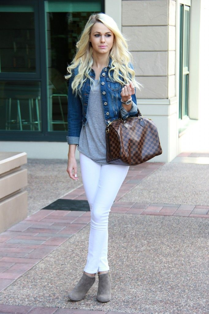 Jean Jacket White Jeans Grey Booties Louie Vuitton