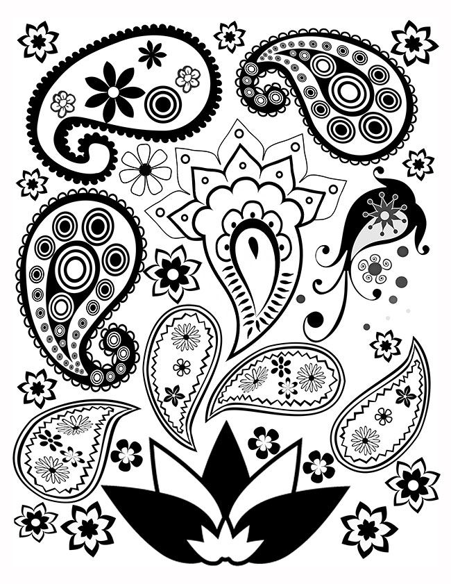 image relating to Printable Adult Coloring Pages Paisley identified as Totally free Paisley Coloring Webpage Even more - Printables Paisley