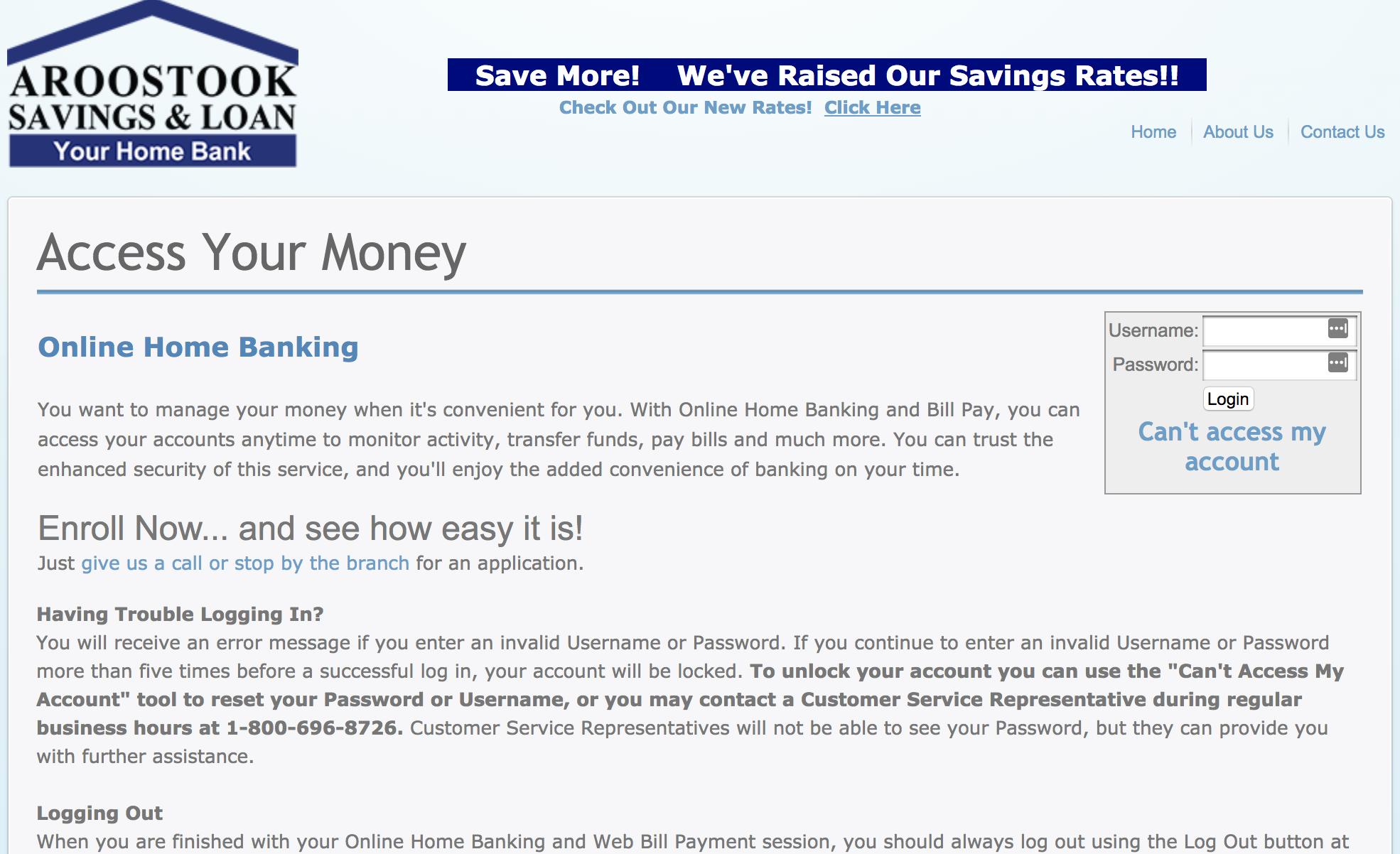 Aroostook Savings And Loan Online Banking Yourhomebank Com Online Banking Banking Loan