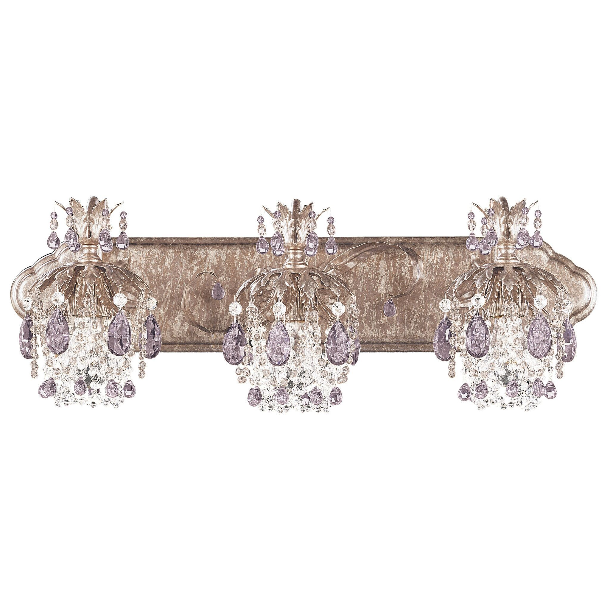 The Schonbek Rondelle 1256 Is A Colored Crystal Bath Vanity Light Available In Ancient Bronze Gold Antique Pewter Silver Umber
