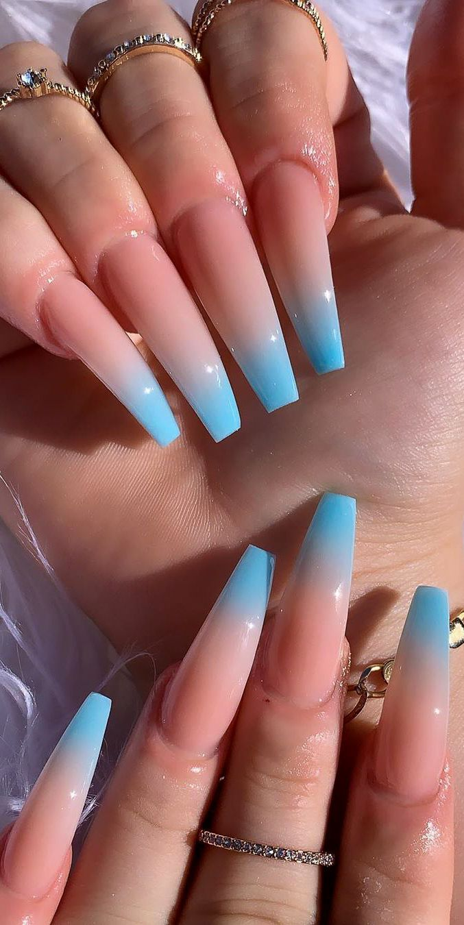 Awesome New Year Best Ombre Nail Ideas For 2020 Part 13 Blue Ombre Nails Ombre Acrylic Nails Pink Ombre Nails