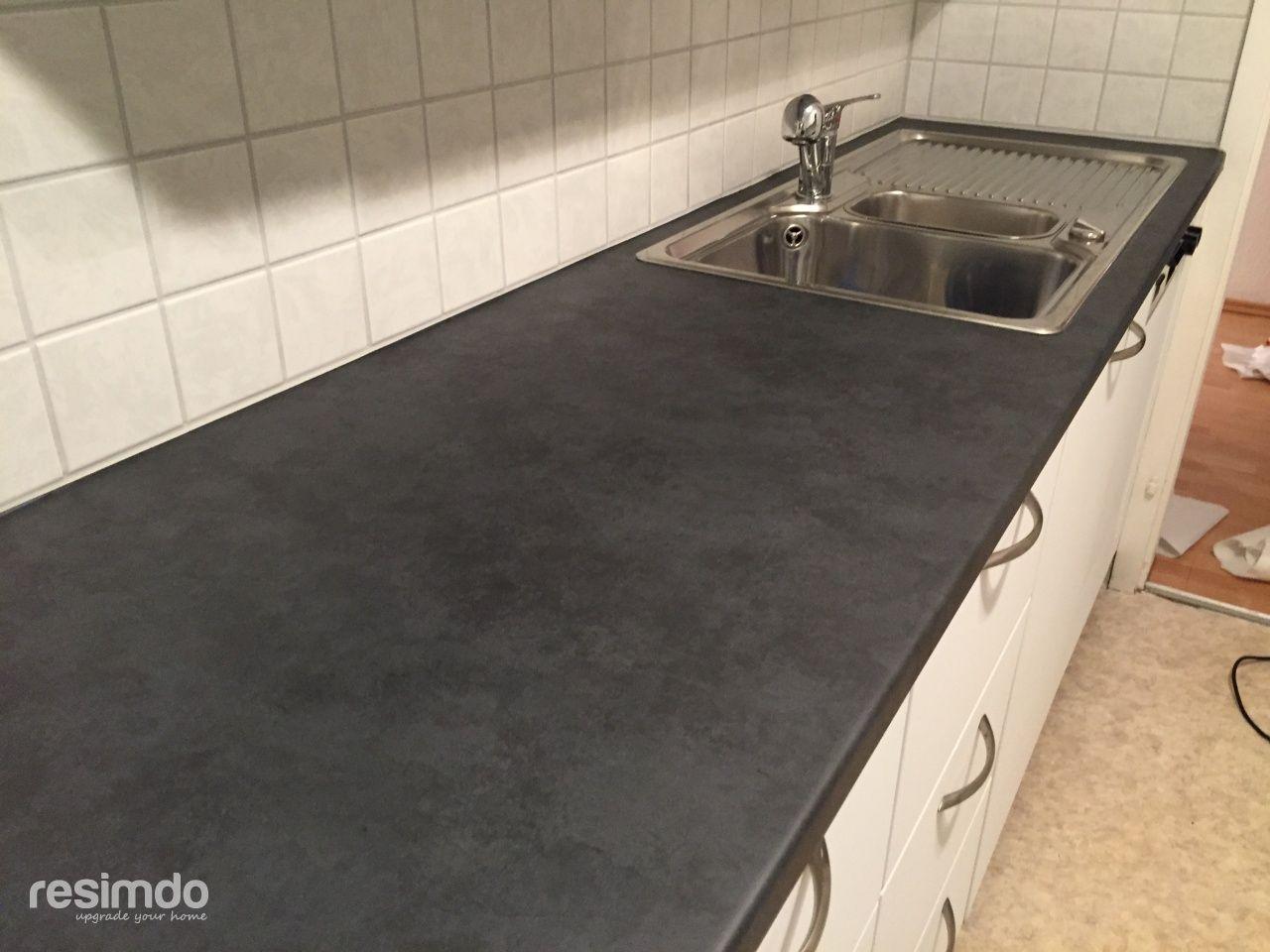 arbeitsplatte bekleben mit folie schwarz steinoptik03 | haus ... - Küche Mit Folie Bekleben