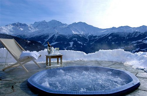 Hot tub with a mountain view