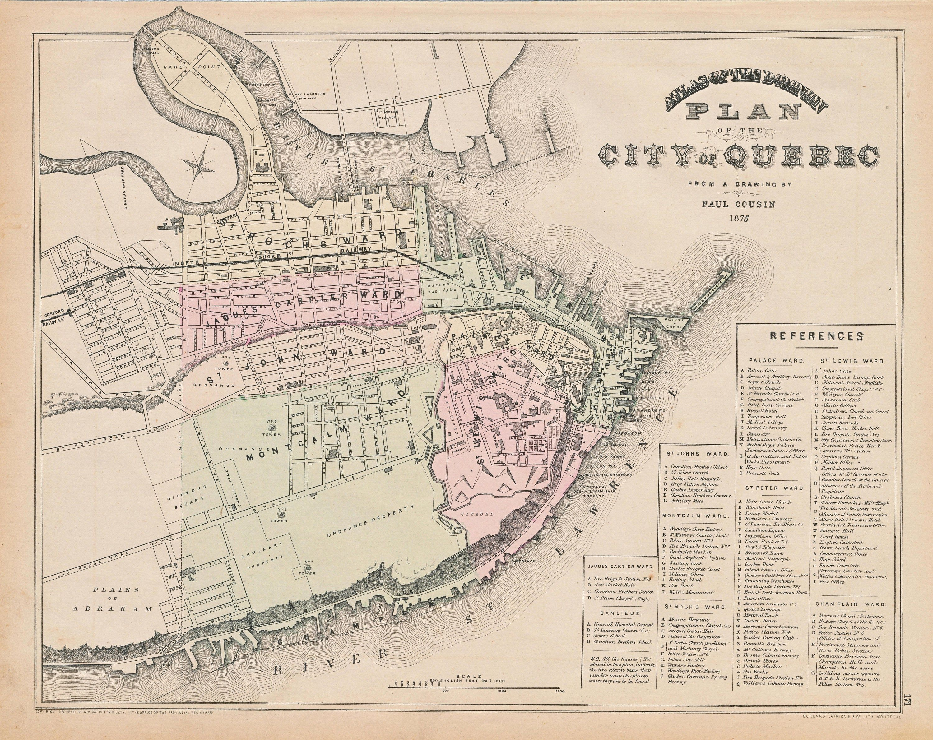 Map Of Quebec City In Canada In The 1800s 1875 Rare Antique Map of Quebec City Canada Vintage Hand | Etsy