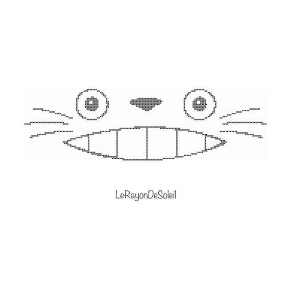 Totoro eyes spirit simple portrait Japanese manga Modern cross stitch pattern - PDF Instant download.