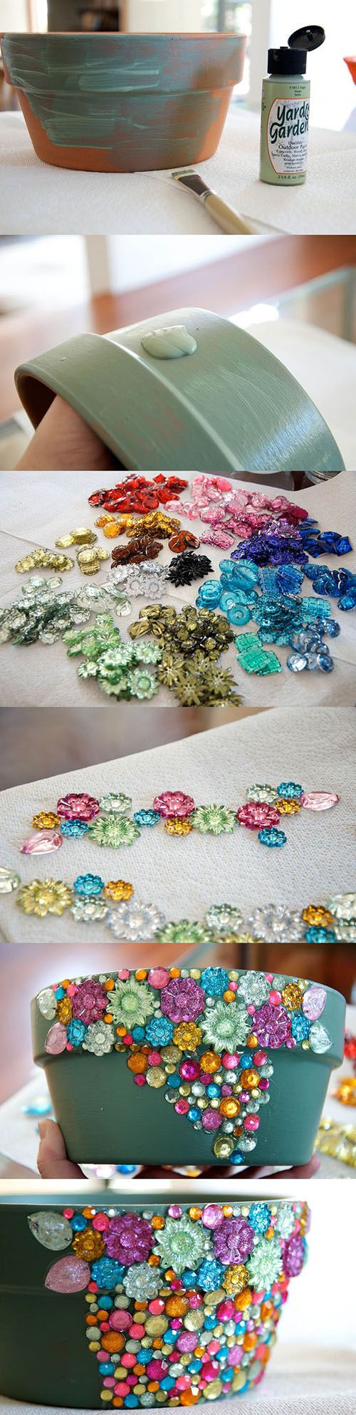 How To Make a Jeweled Terra Cotta Pot