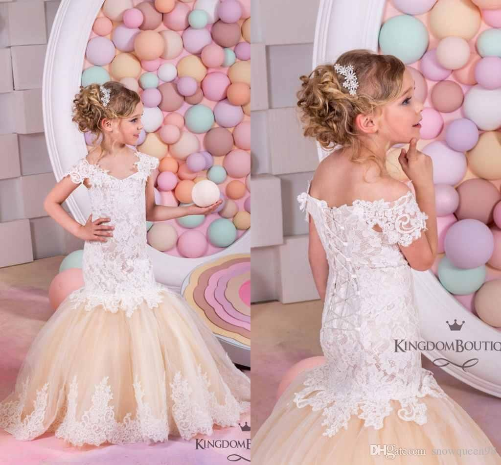 Cheap Pretty Champagne Lace Flower Girls Dresses Mermaid Off