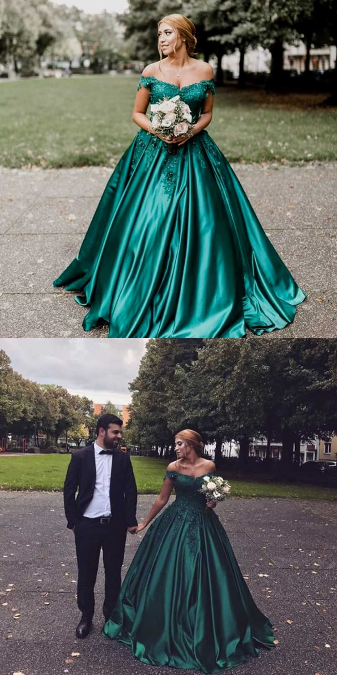 Dark green evening dressesball gown prom dresseslong prom dress