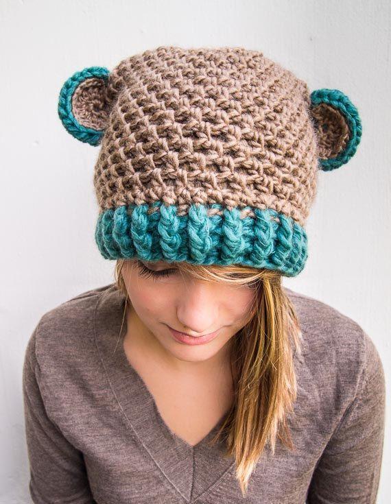 Casual Slouchy Bear Ears Beanie crochet hat by BalloonHighway ... 6dc180deaea