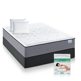 Sealy Drakesboro Firm Queen Size Mattress Bundle Package  features Sealy Embrace™ Coil System which provides over-all support and reduced motion transfer for relaxing sleep.
