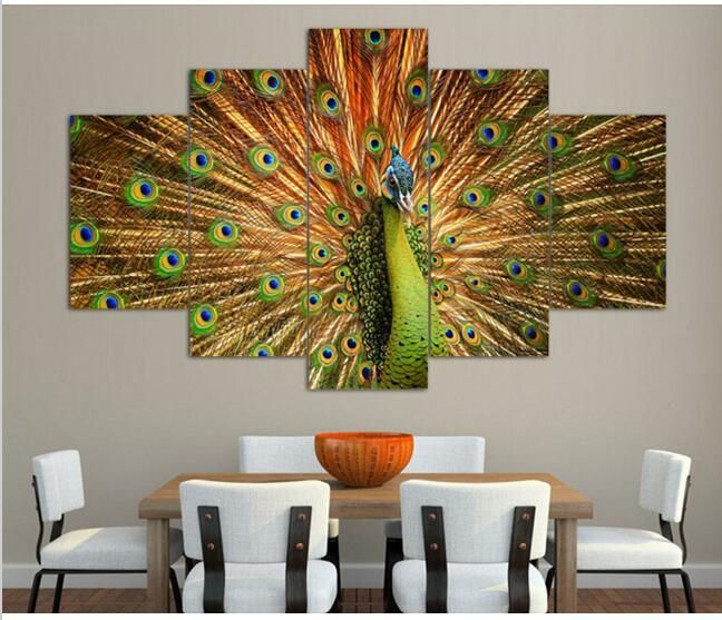 wholesale cheap framed oil painting online brand find best shipping canvas art abstract peacock - Discount Framed Art
