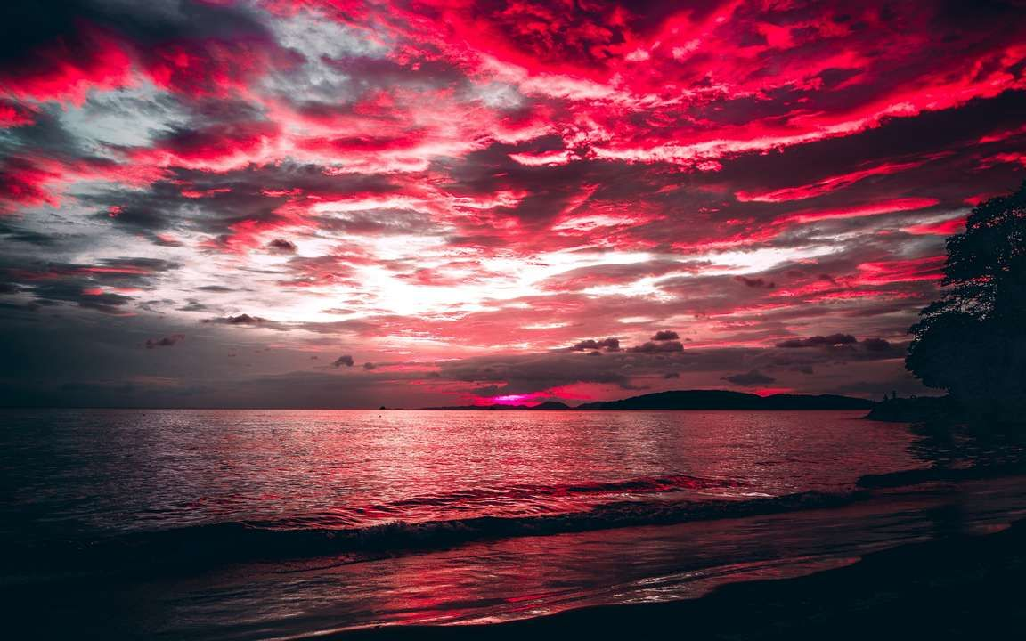 Download Wallpaper 3840x2400 Sea Sunset Clouds Night Shore 4k Ultra Hd 16 10 Hd Background Oboi