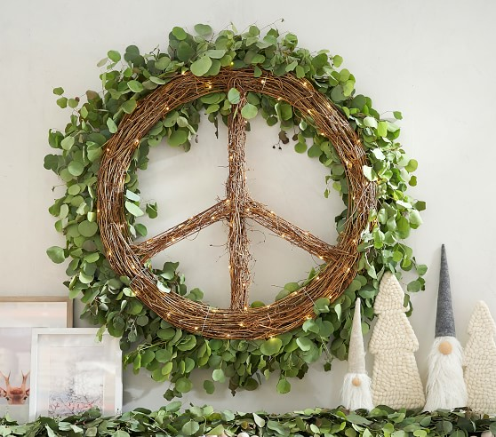 Willow Light Up Peace Sign Wreath In 2020 Christmas