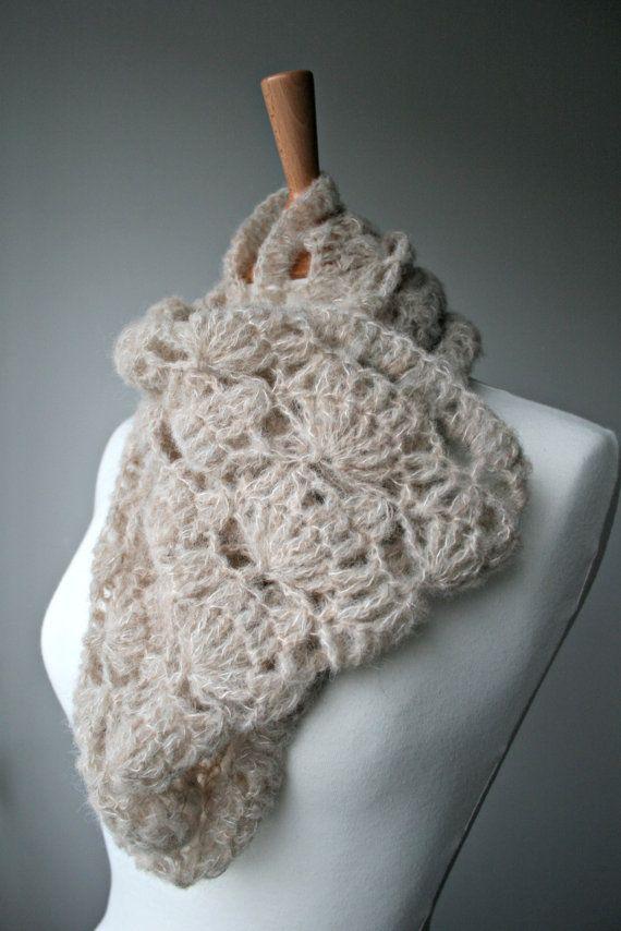 Crochet Pattern, scarf crochet pattern, lace silk crochet cowl ...
