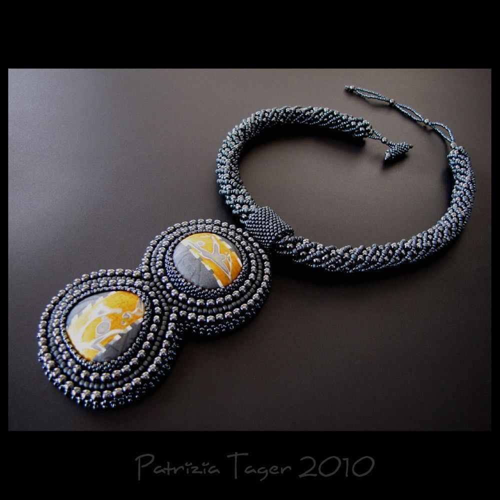 JL - OOAK  Gunmetal and Yellow Bead Embroidered Necklace. $275.00, via Etsy.