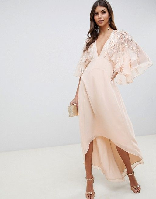 de7cf555c94 DESIGN feather embellished cape midi dress in 2019