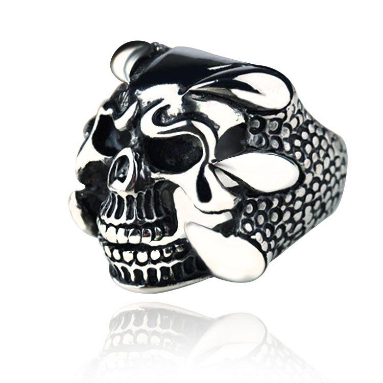 Rétro Hommes En Acier Inoxydable Pirates des Caraïbes Capitaine Jack Skull Band Ring
