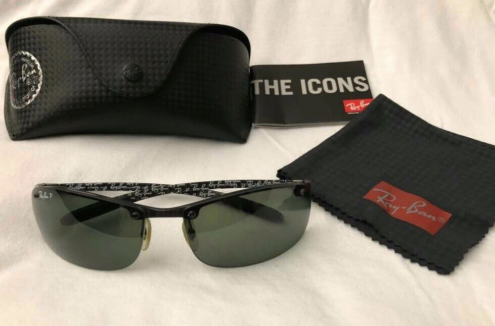 c19391b02 Ray Ban Tech RB8305 Carbon Fibre Semi Rimless Polarized Sunglasses BLACK  #fashion #clothing #shoes #accessories #unisexclothingshoesaccs  #unisexaccessories ...