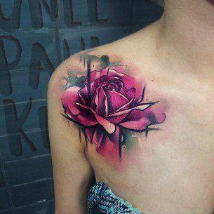 Front Shoulder Rose Tattoo Rose Tattoos For Women Pink Rose