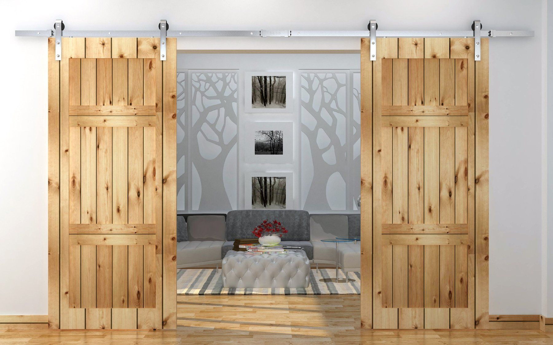 Tms 12 Ft Country Stainless Steel Sliding Barn Wood Double Door Hardware Track Set Antique Barn Style Interior Doors Sliding Door Hardware Double Barn Doors