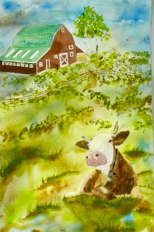 Sitting Bull and Barn Original Watercolor Painting, Animal Artwork ...