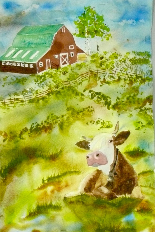 Western Cow Art Painting, Sitting Bull Original Watercolor Animal ...