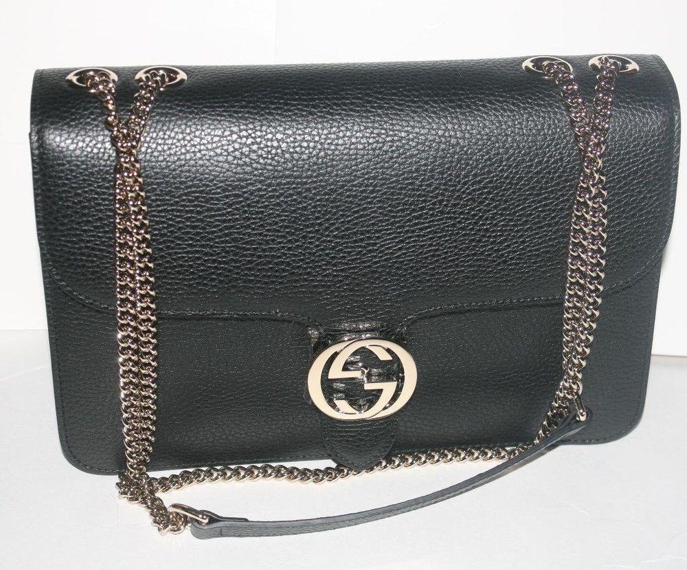1b3d91f97139  2780 NWT GUCCI INTERLOCKING GG CROSSBODY SHOULDER HANDBAG IN BLACK 510303   purses  fashion