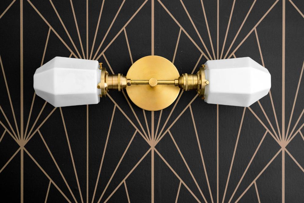 Photo of Parabolic washstand lamp – bathroom lamp – opal lamp – geometric lamp – brass mirror lamp – art deco bathroom lamp – model no. 6679