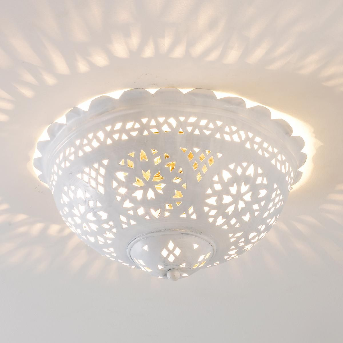 Lacey scalloped and punched metal semiflush ceiling light in white moroccan scalloped and punched metal semiflush ceiling light shades of light i wounder if this cant be decoupaged or similer to create this effect arubaitofo Choice Image