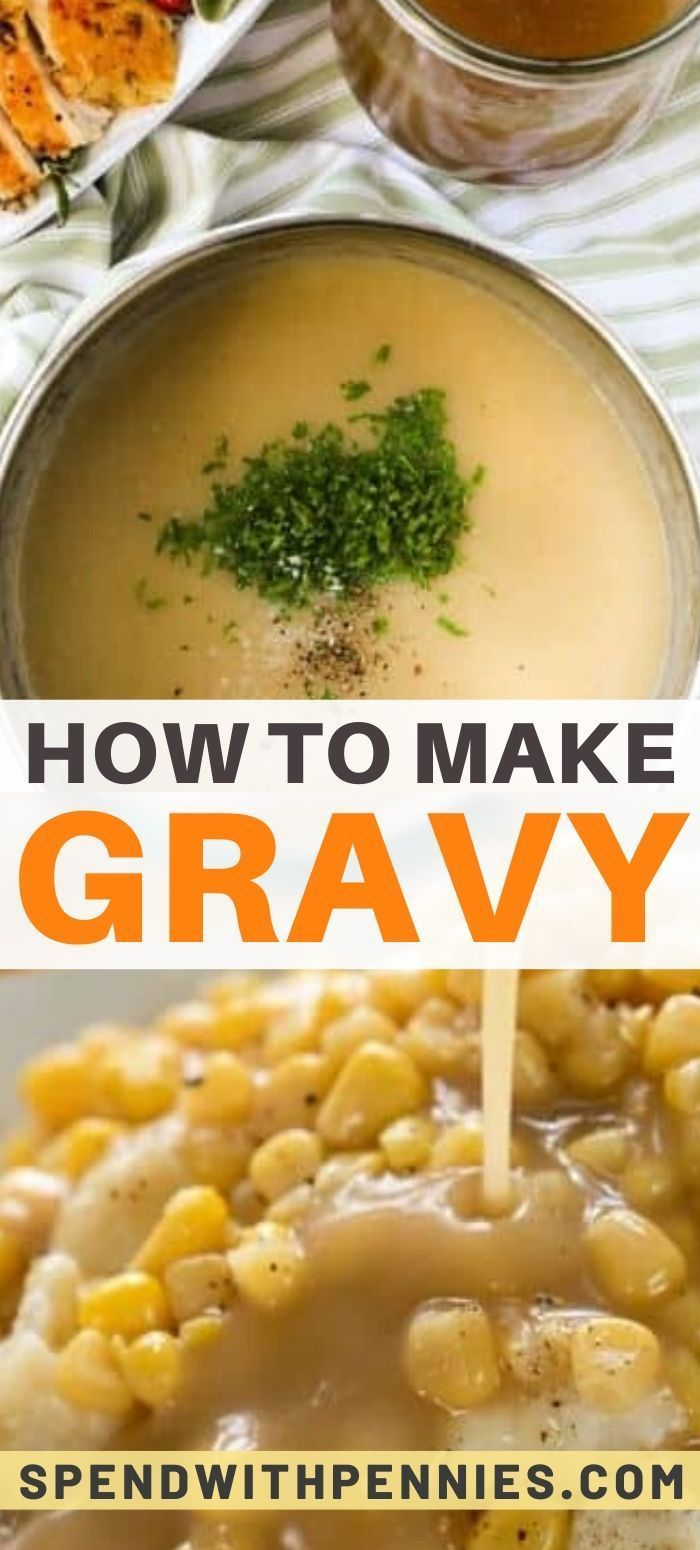 These step-by-step instructions for how to make gravy are easy to follow and make delicious gravy! #turkeygravyfromdrippingseasy How to Make Gravy from chicken, turkey or beef drippings (or make gravy without drippings. A step-by-step guide for perfect gravy. #spendwithpennies #gravy #turkeygravy #browngravy #thanksgiving #gravyrecipe #turkeygravyfromdrippingseasy
