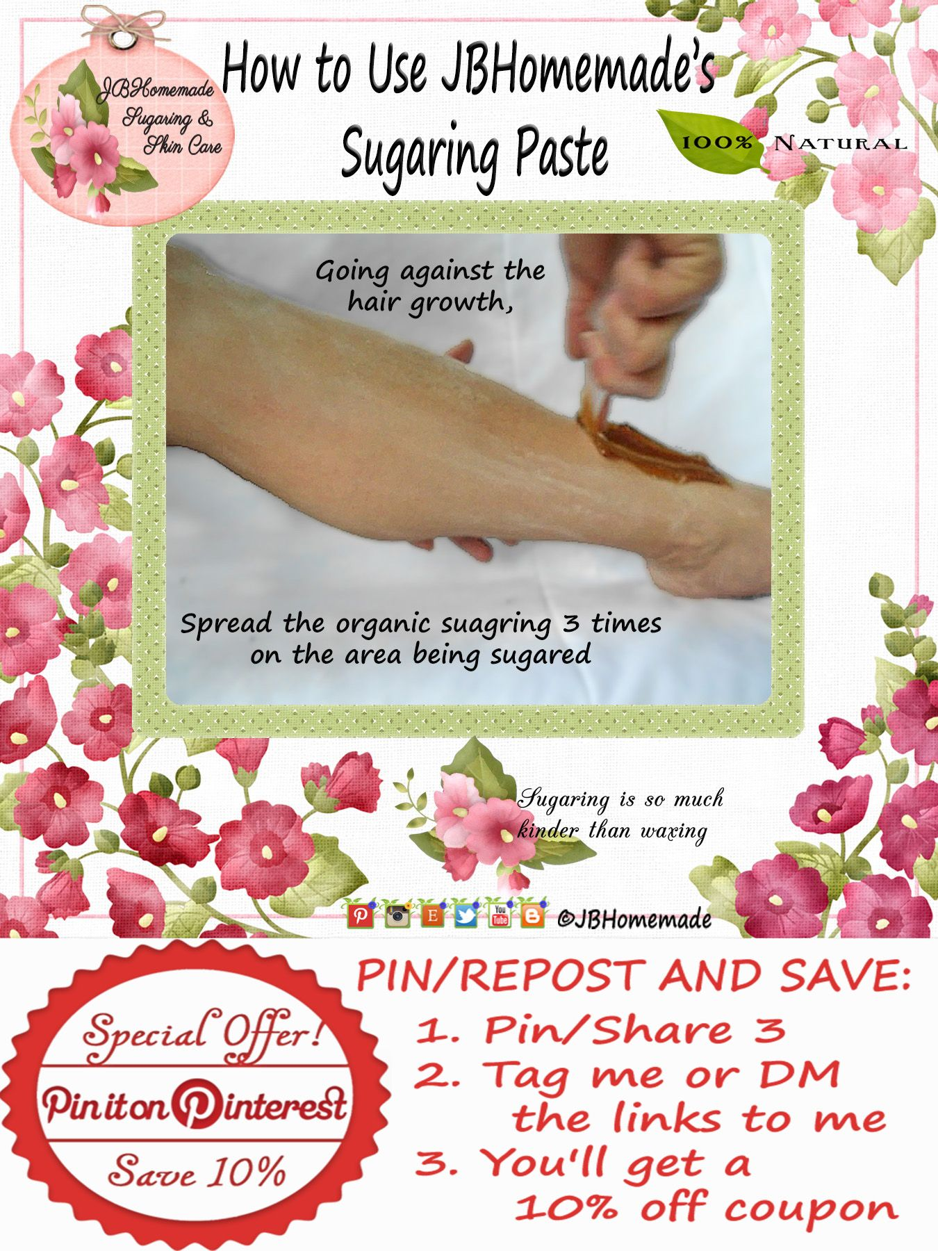 How To Use Jbhomemade Organic Sugaring Paste Going against the growth, spread the organic sugaring 3 times on the area to be sugared.  PIN/REPOST & SAVE: 1. Pin/Share 3 2. Tag me / DM the links to me 3. Get a 10% off coupon #jbhomemade #sugaring is an ancient method of hair removal & is considered the best & most beneficial natural wax & shave alternative