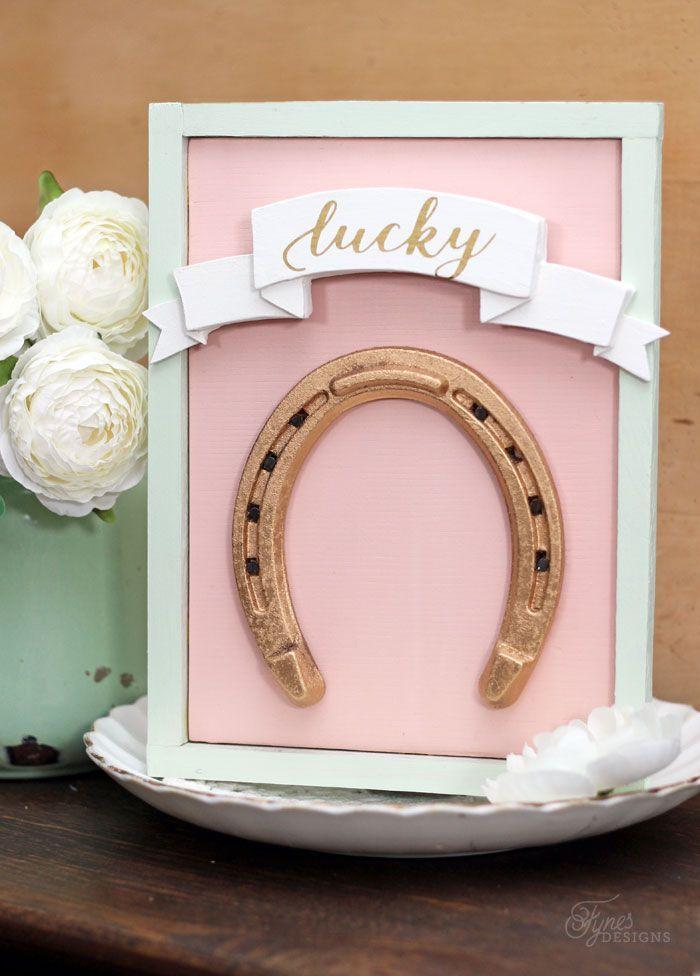 Lucky Gold Horseshoe Sign Horseshoe Crafts Diy Party