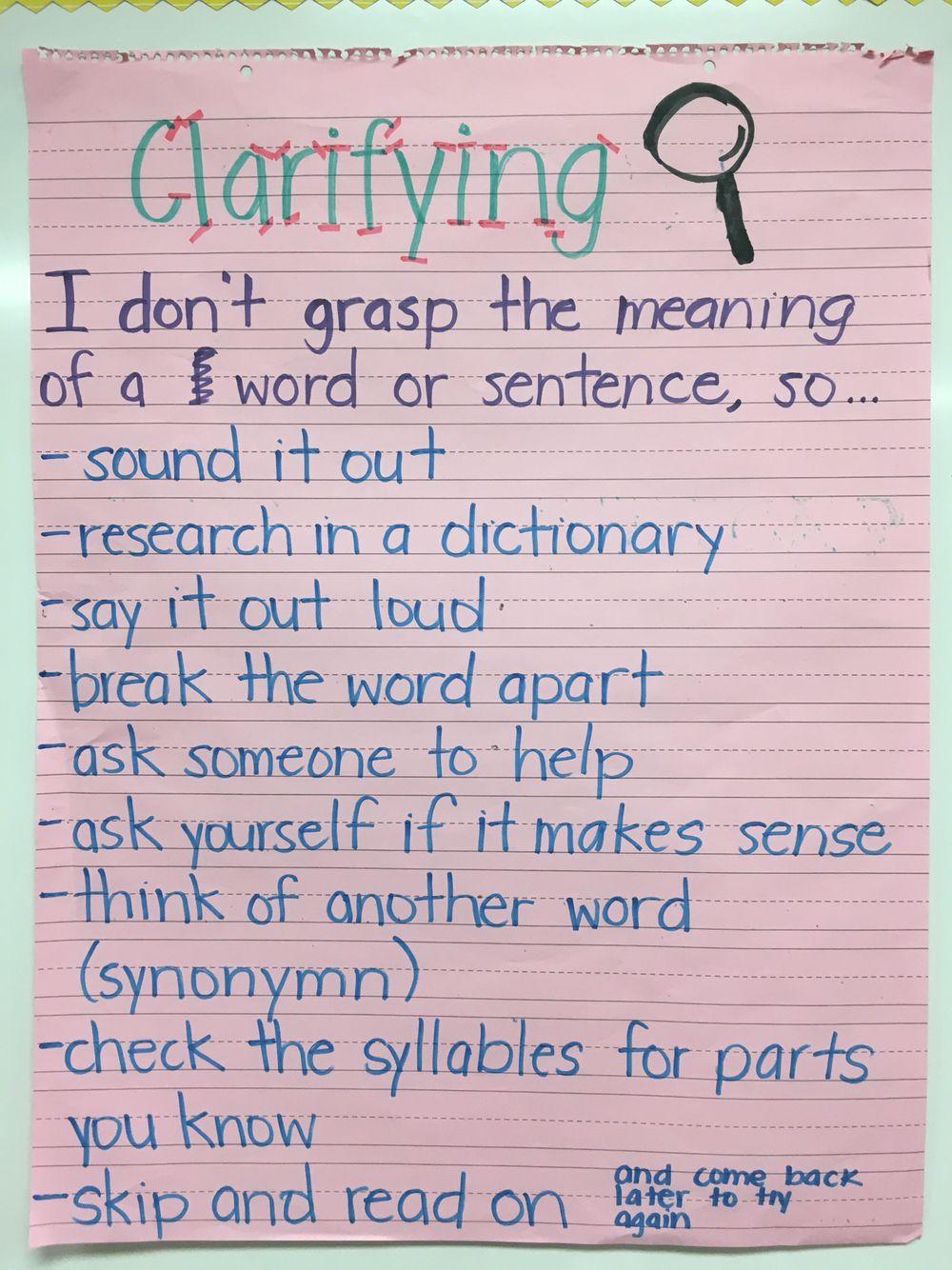 Reciprocal Teaching Clarifying Anchor Chart Reciprocal Teaching Anchor Charts E Words [ 1334 x 1000 Pixel ]