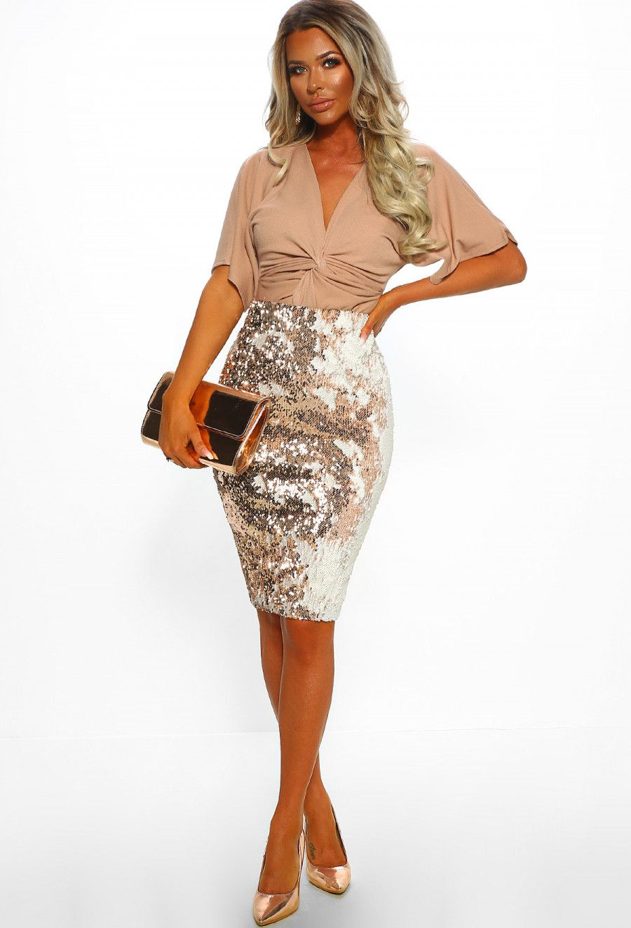 1c2ef0b6dd0d Steal The Show Rose Gold Sequin Midi Skirt | Pink Boutique | Fleur ...