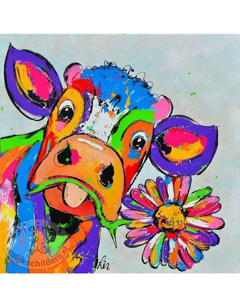 vrolijk schilderij poster koe met bloem 50x50 kleurrijk