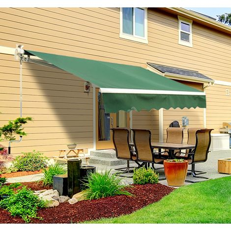 Outsunny 3 X 2 5m Garden Manual Retractable Awning Sunshade W